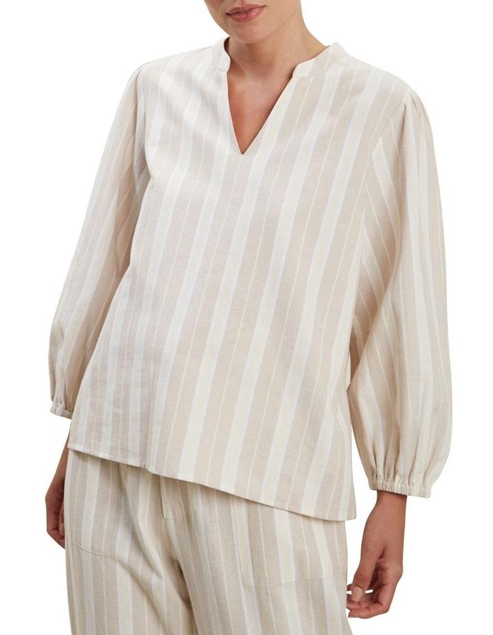 Stripe Blouson Sleeve Blouse image 1