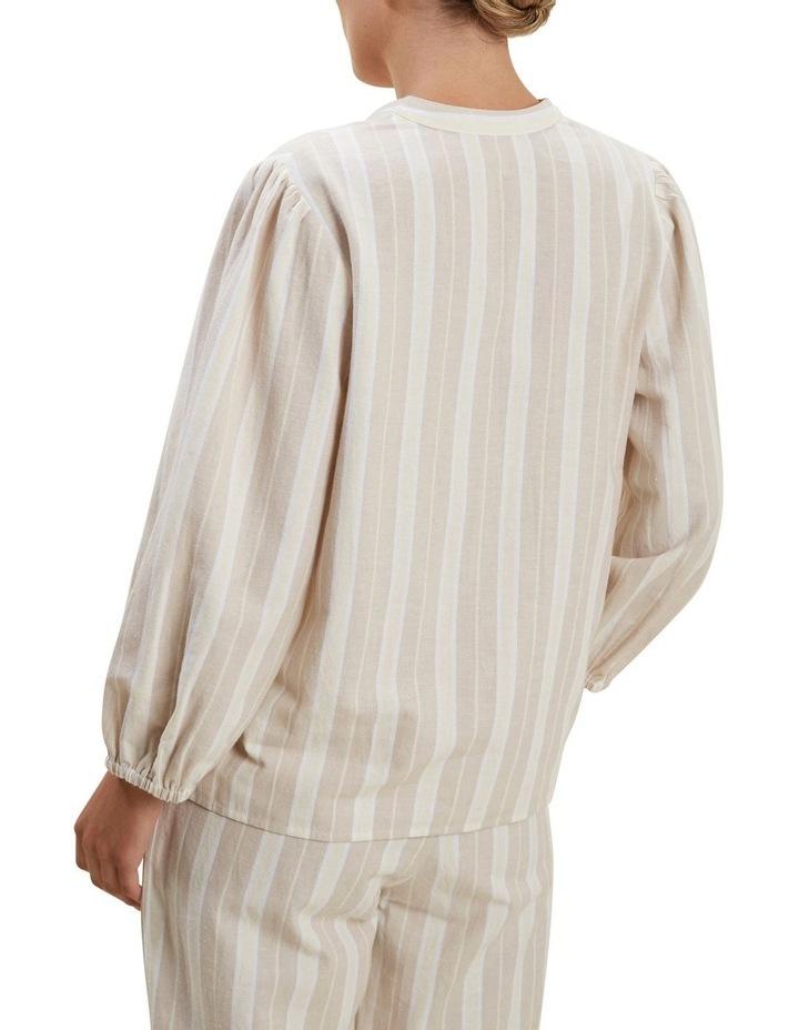 Stripe Blouson Sleeve Blouse image 3