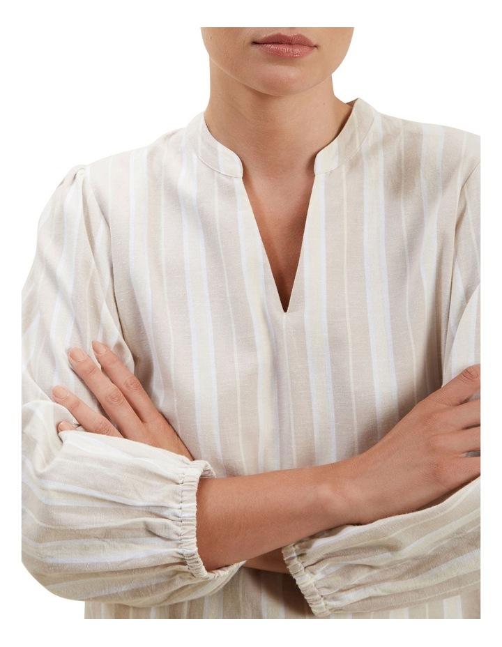 Stripe Blouson Sleeve Blouse image 4