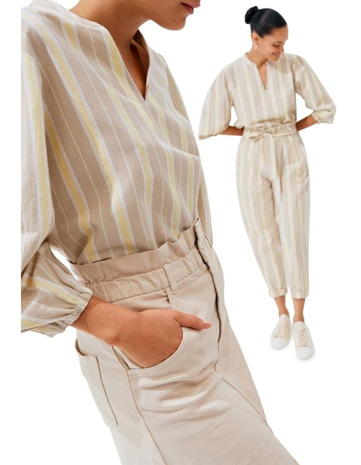 Stripe Blouson Sleeve Blouse image 5