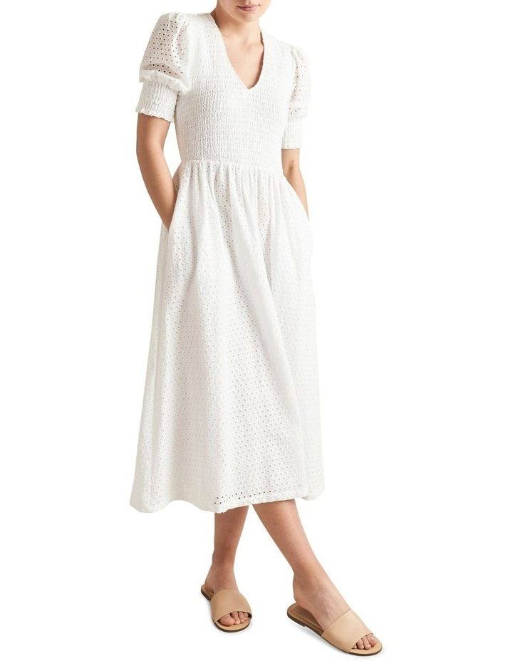 Embroidered Shirred Dress image 1