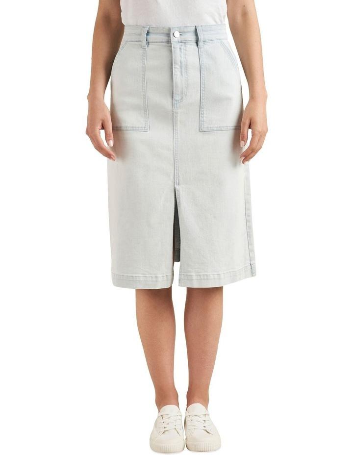 Midi A Line Denim Skirt image 1