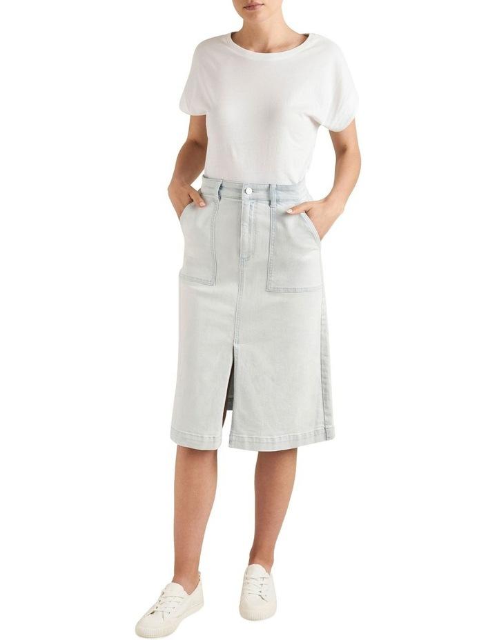Midi A Line Denim Skirt image 2