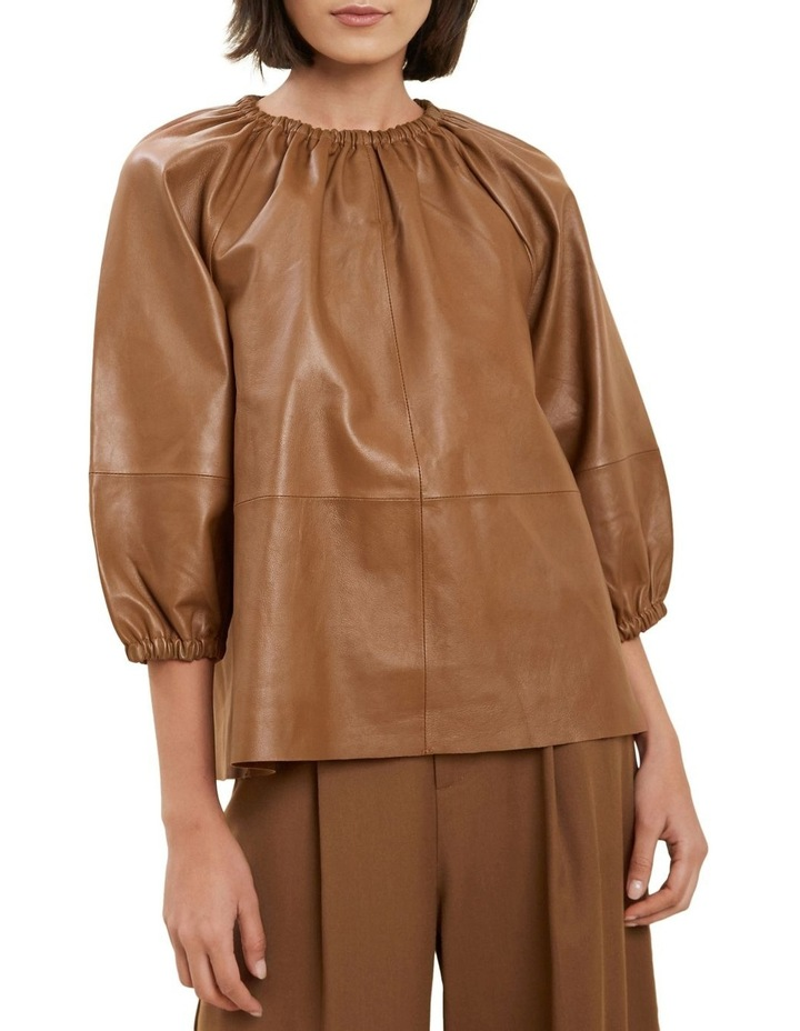 Gathered Leather Blouse image 1