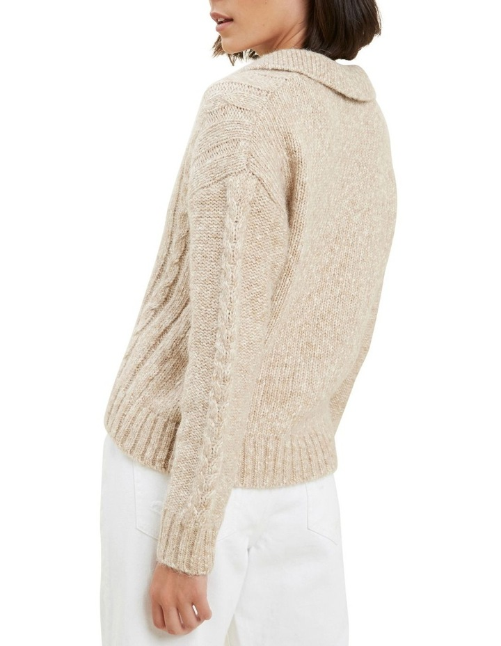 Cable Knit Polo Sweater image 3