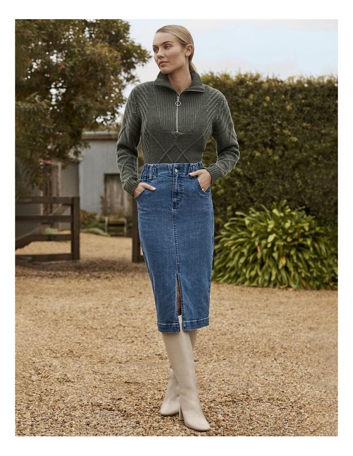 Denim Midi Elastic Skirt image 2