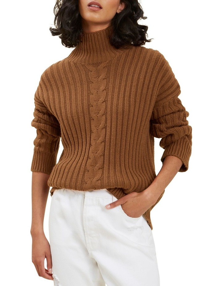 Cable Knit High Neck Sweater image 1
