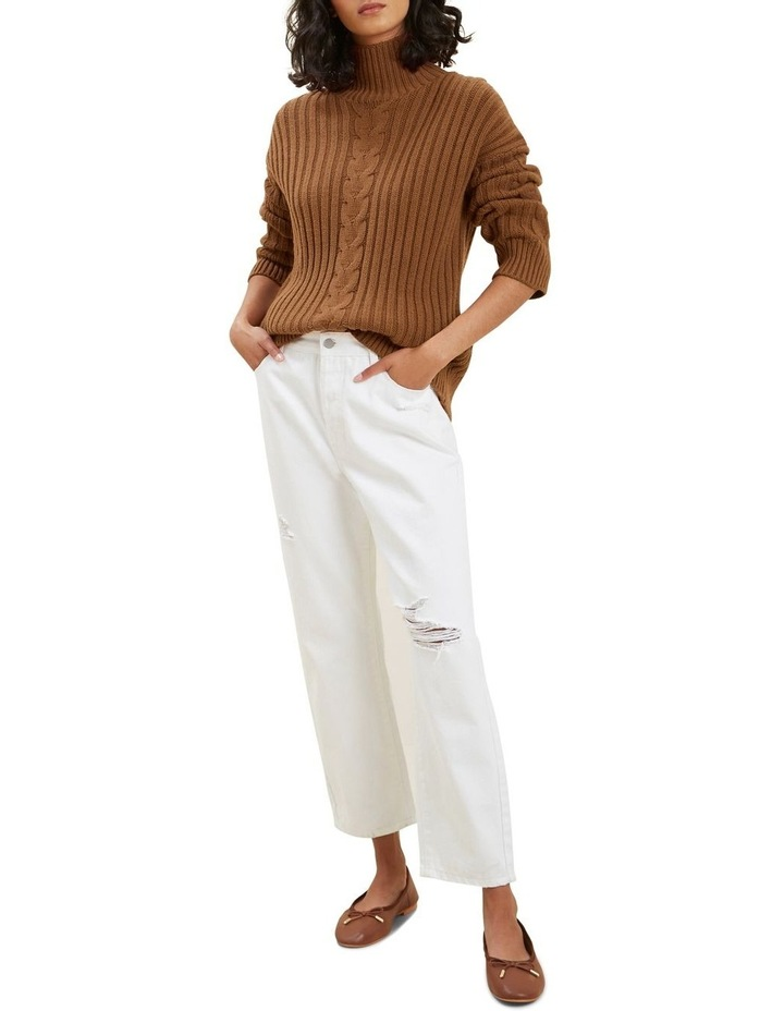 Cable Knit High Neck Sweater image 2