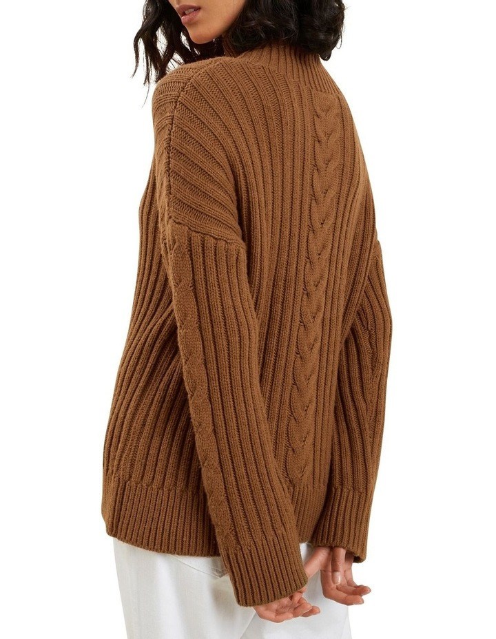 Cable Knit High Neck Sweater image 3