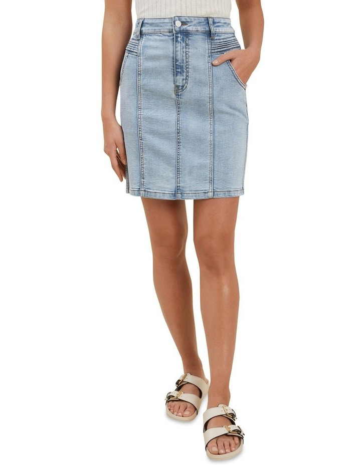 Denim Pintuck Mini Skirt image 1