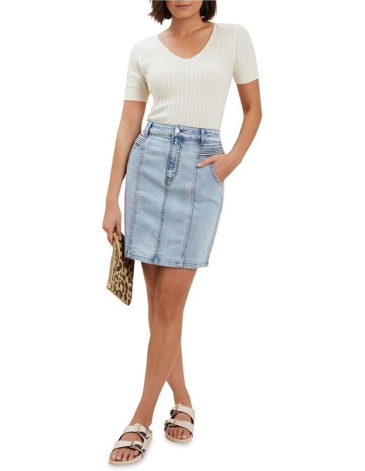 Denim Pintuck Mini Skirt image 3