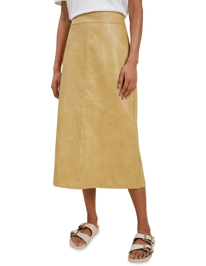 Vegan Leather Panel Midi Skirt image 1