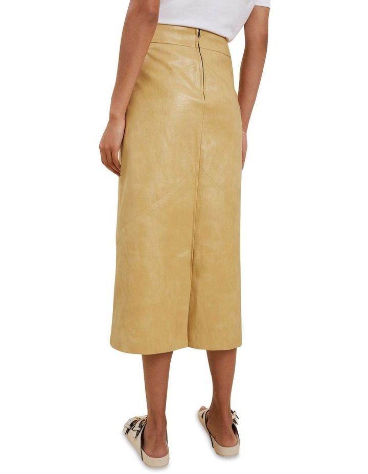 Vegan Leather Panel Midi Skirt image 2