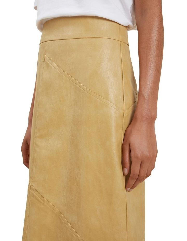 Vegan Leather Panel Midi Skirt image 4