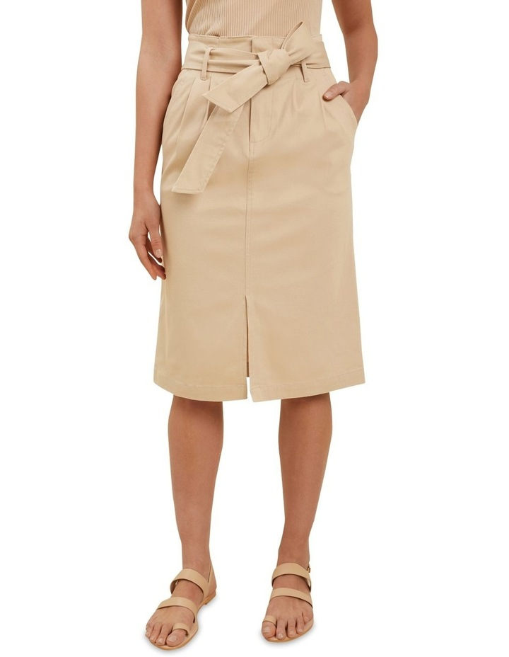 Cotton Belted Midi Skirt image 1
