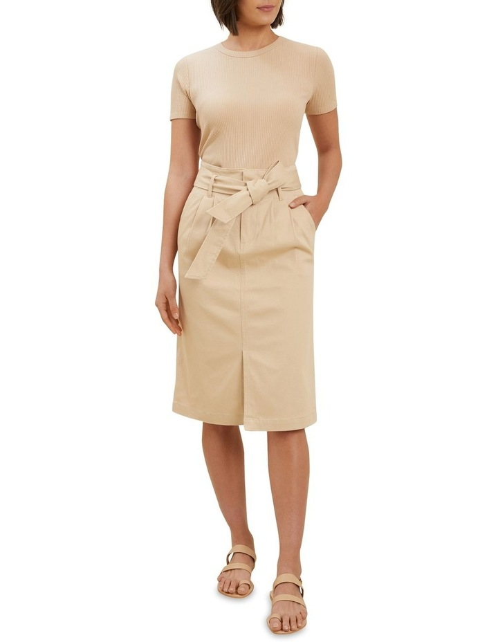 Cotton Belted Midi Skirt image 2