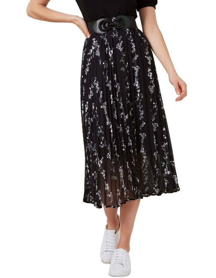 Monochrome Floral Pleat Skirt image 1