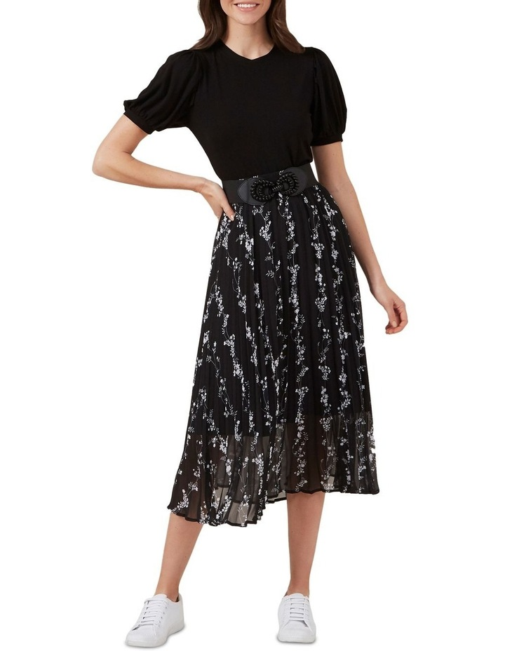 Monochrome Floral Pleat Skirt image 2