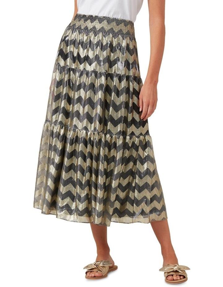 Chevron Metallic Midi Skirt image 1