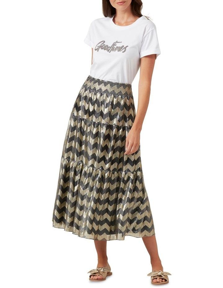 Chevron Metallic Midi Skirt image 2