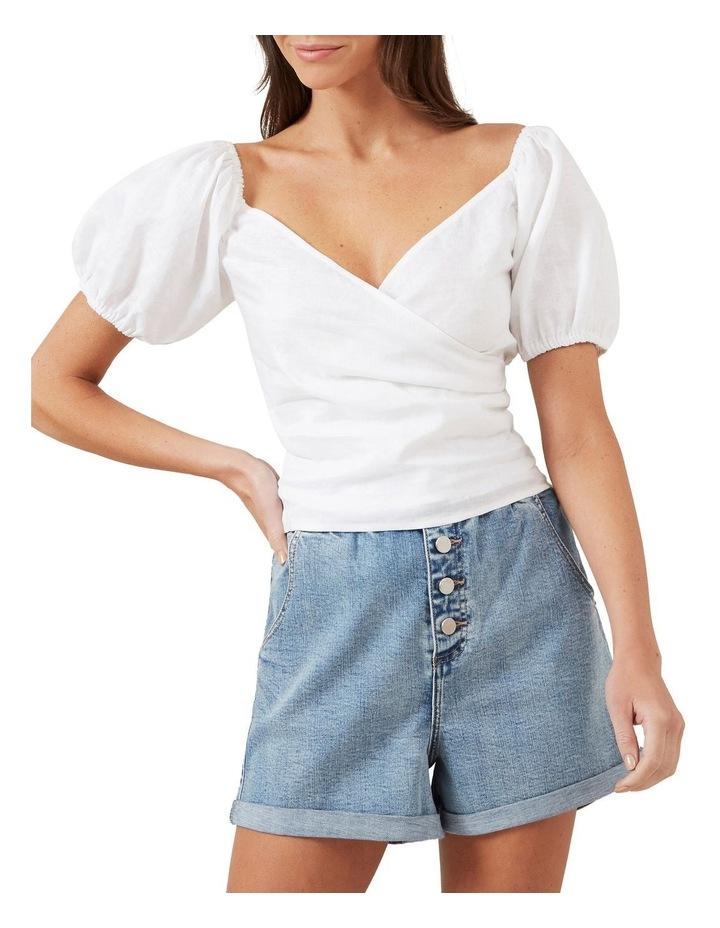 Puff Sleeve Linen Blouse image 1