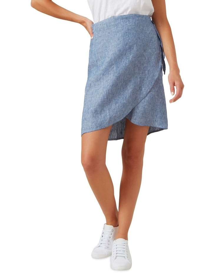 Linen Wrap Mini Skirt image 1