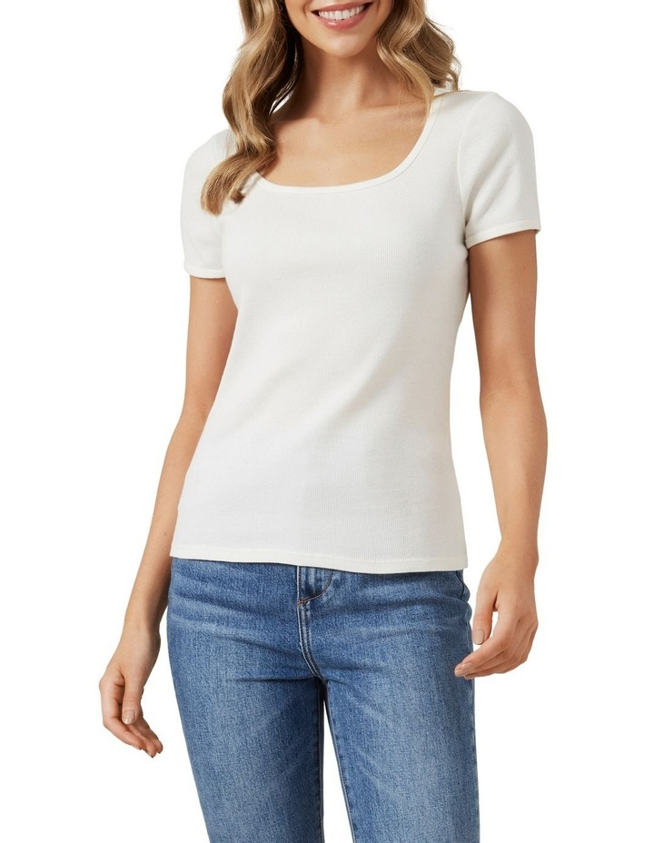 Wide Scoop Ribbed T Shirt image 1