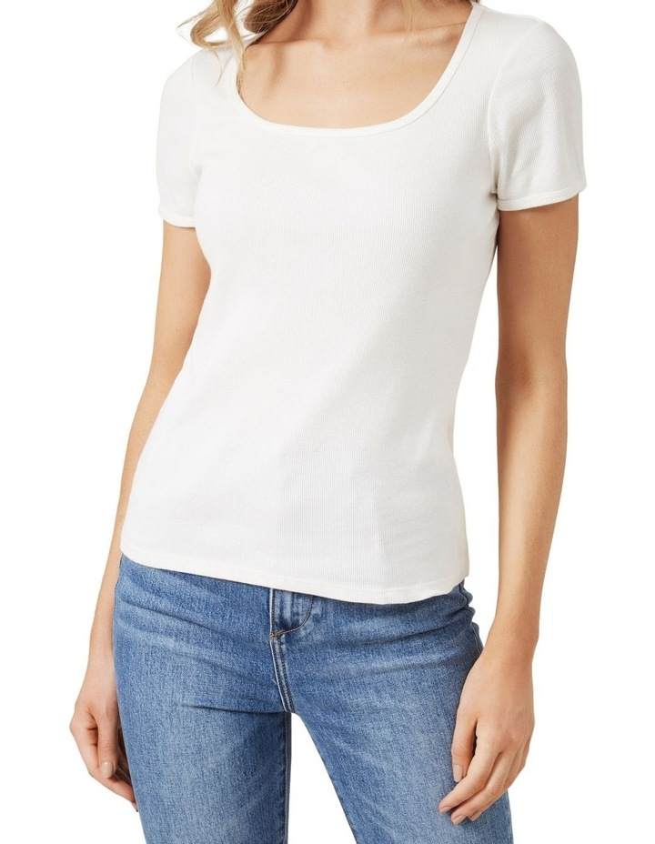 Wide Scoop Ribbed T Shirt image 4