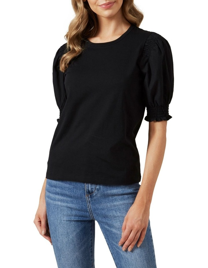 Puff Sleeve Shirred T Shirt image 1