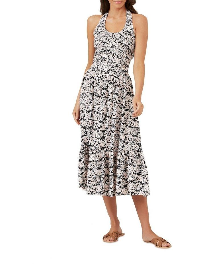 Shirred Halter Midi Dress image 2