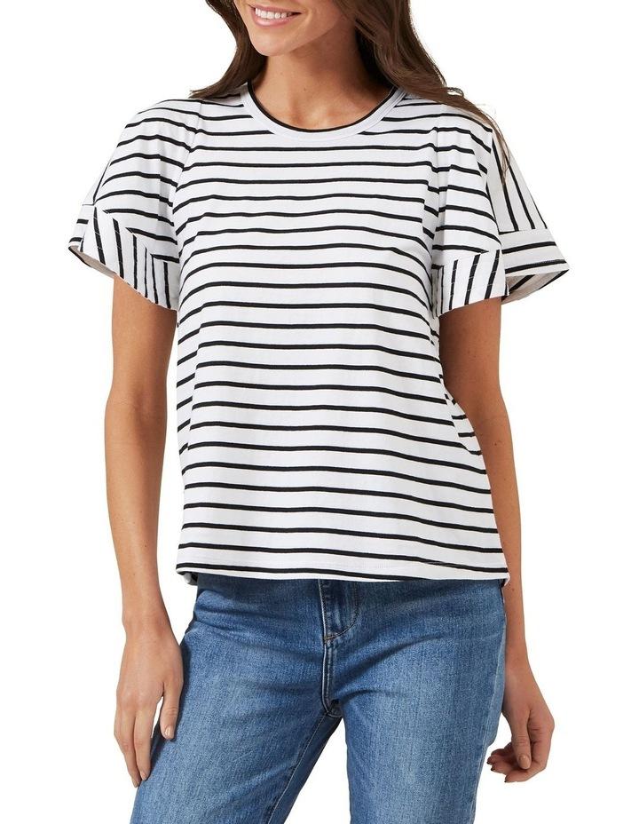 Frill Sleeve Stripe Tee image 1
