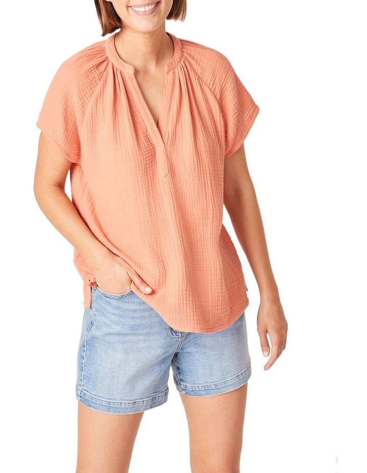 Cotton Crinkle Popover Top image 1