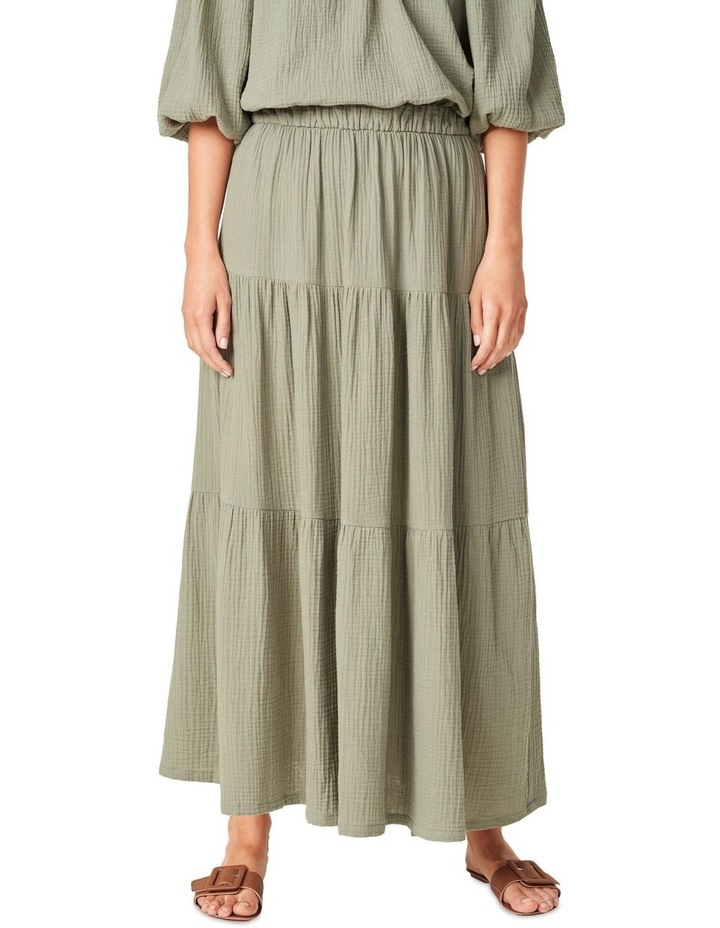 Cotton Crinkle Tiered Skirt image 1