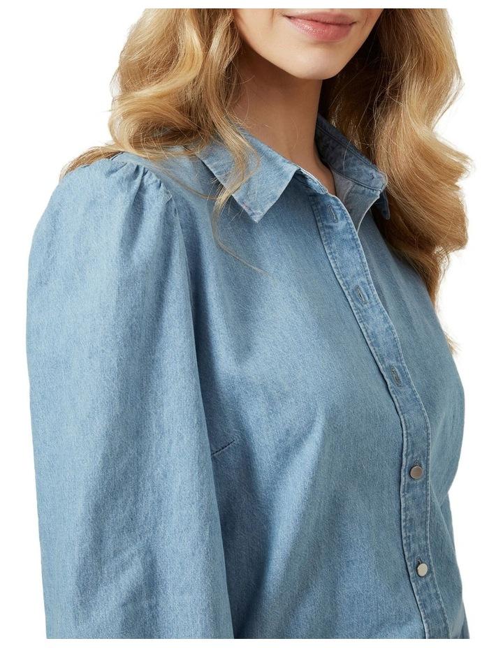 Puff Sleeve Denim Shirt image 4