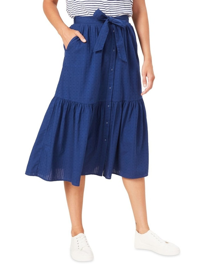 Tiered Button Through Midi Skirt image 1