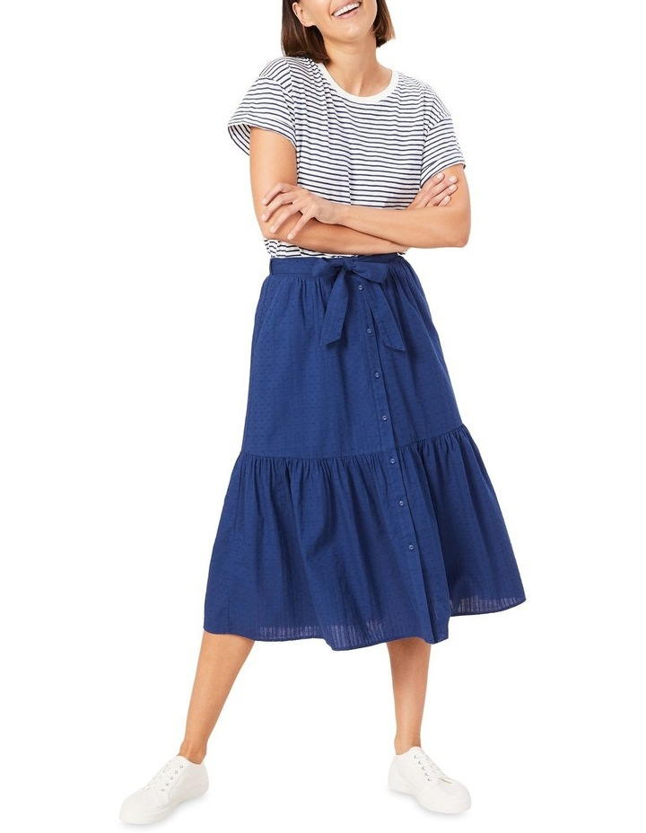 Tiered Button Through Midi Skirt image 2