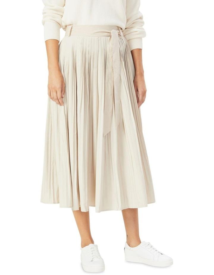 Soft Pleat Belted Midi Skirt image 1