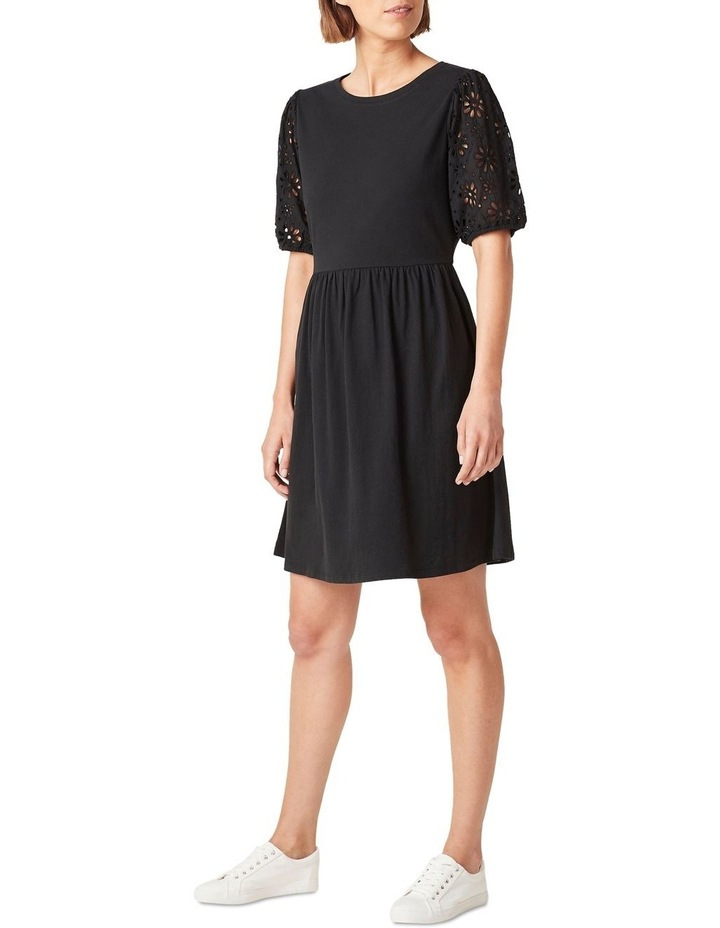 Broderie Sleeve Jersey Dress image 2