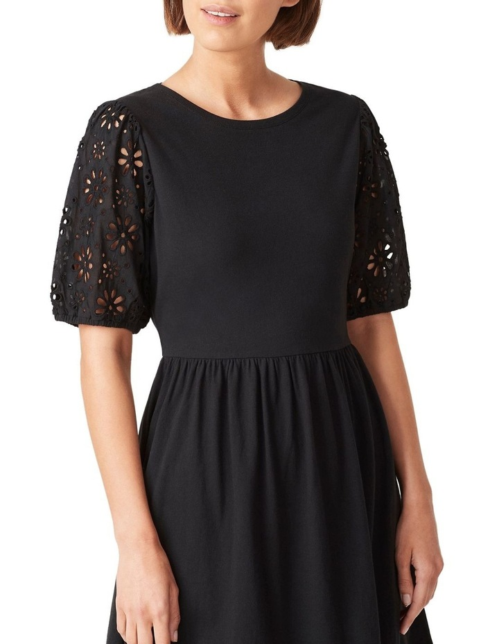 Broderie Sleeve Jersey Dress image 4