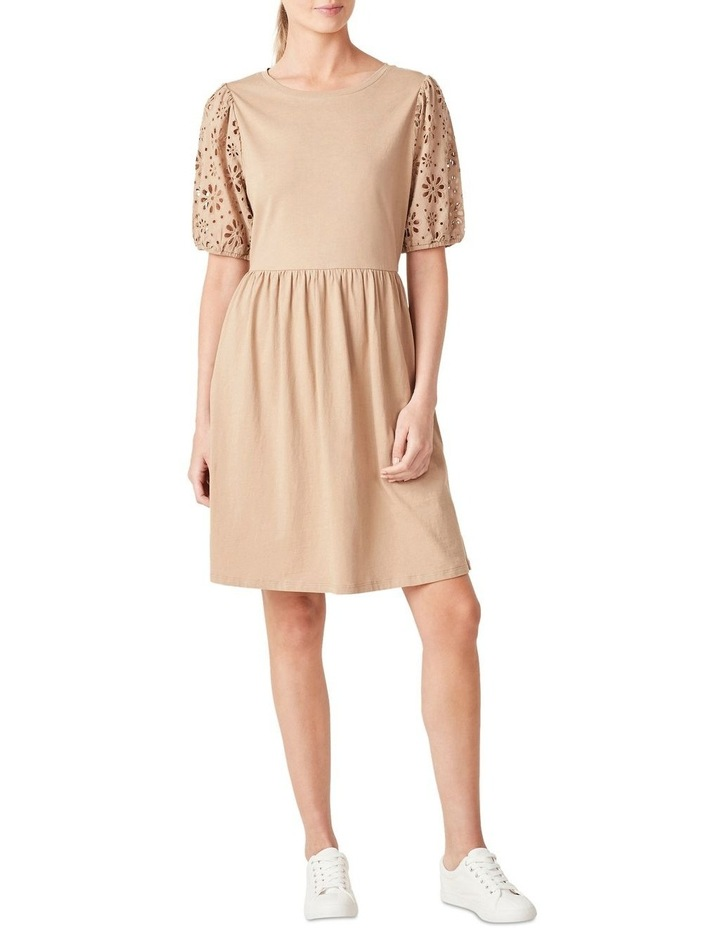 Broderie Sleeve Jersey Dress image 1
