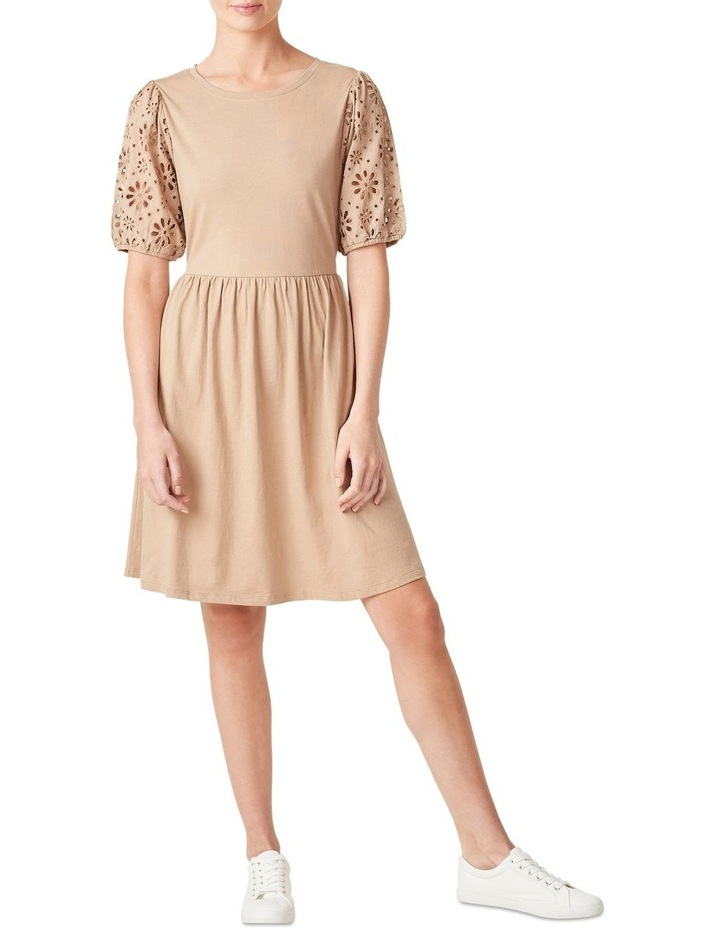 Broderie Sleeve Jersey Dress image 5