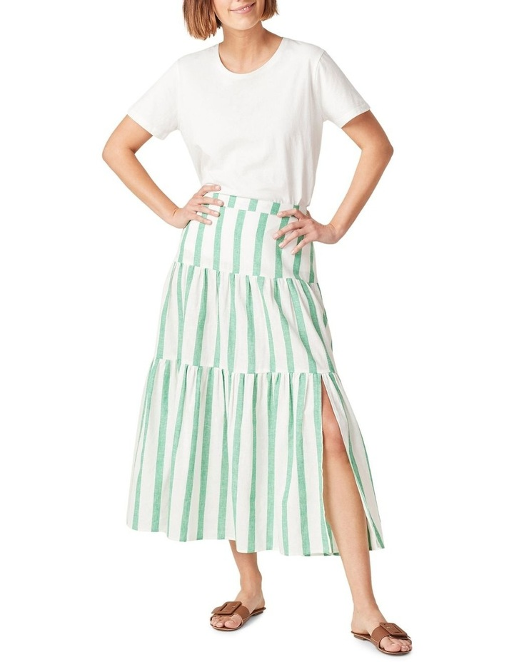 Linen Stripe Tiered Midi Skirt image 1