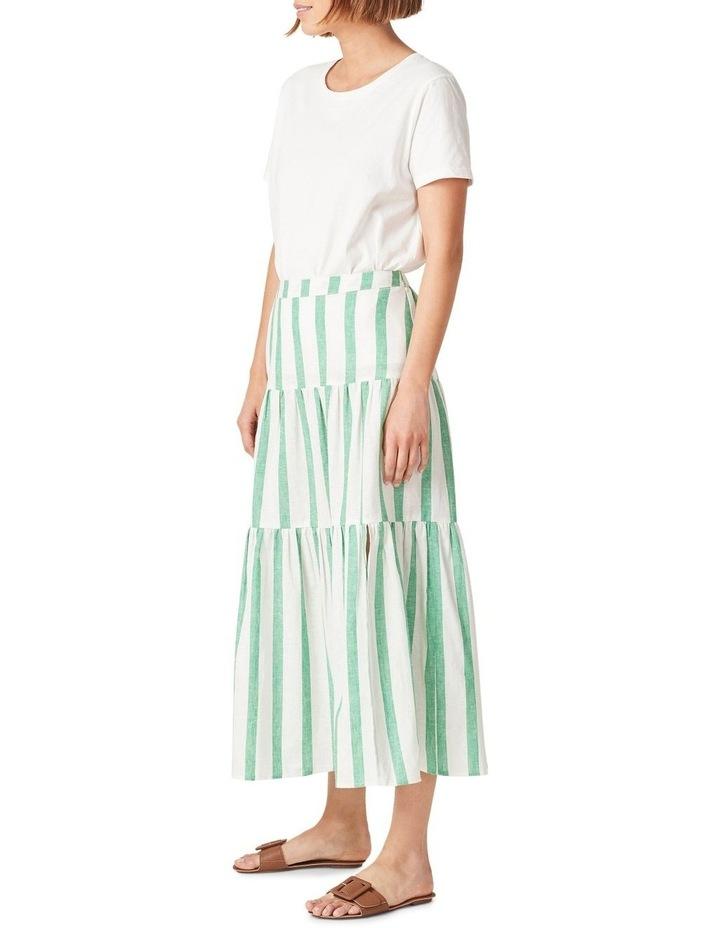Linen Stripe Tiered Midi Skirt image 2