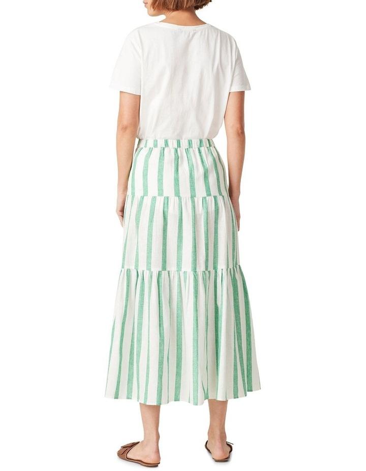 Linen Stripe Tiered Midi Skirt image 3