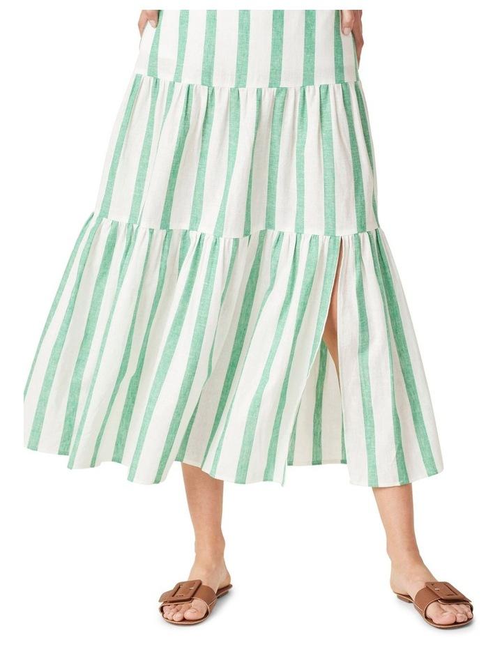 Linen Stripe Tiered Midi Skirt image 4