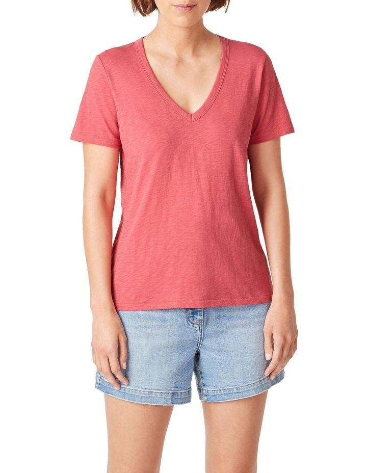 Slub Jersey V Neck T Shirt image 1