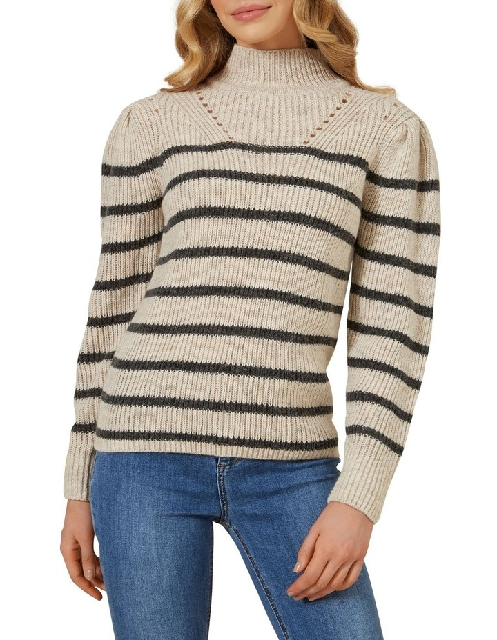 Striped Balloon Sleeve Knit image 1