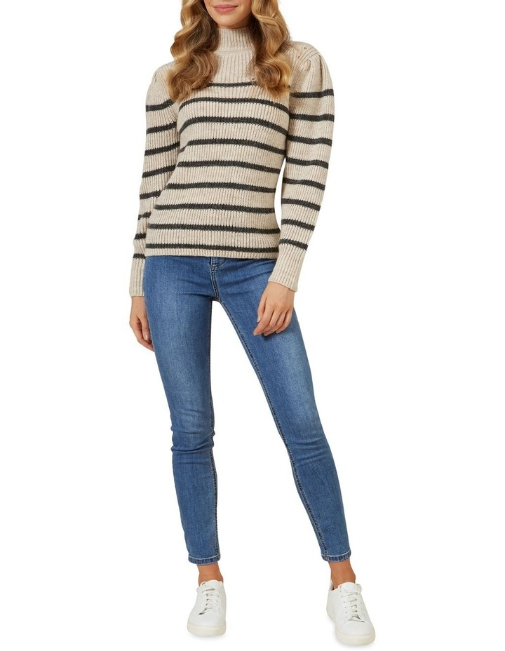Striped Balloon Sleeve Knit image 2