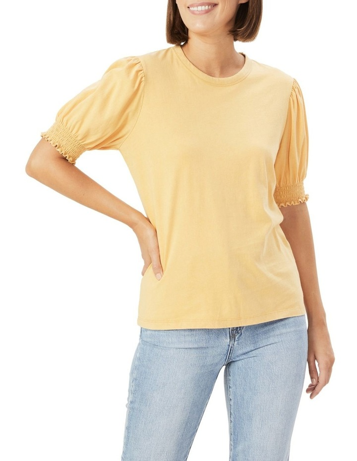 Acid Wash Puff Sleeve T Shirt image 1