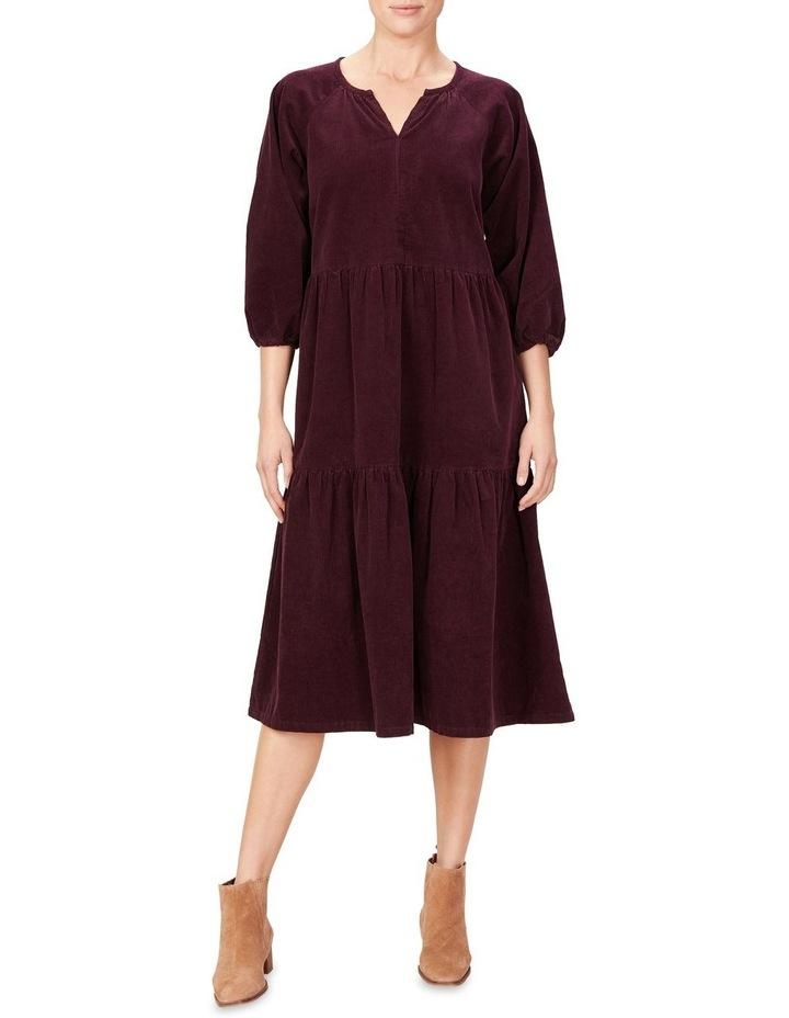 Cord Tiered Midi Dress image 1